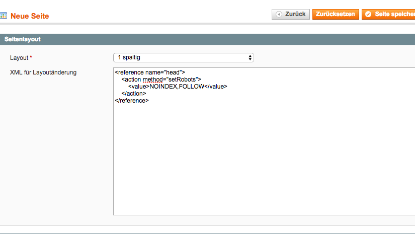 Magento add noindex nofollow to CMS pages